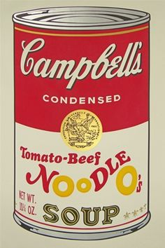One of Warhol's favorite soups:   Campbell's Tomato-Beef Noodle O's.