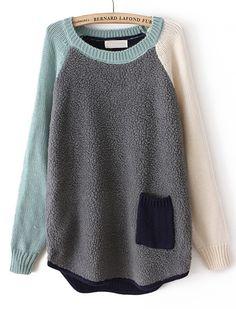 Jersey suelto combinado manga larga bolsillos-Gris EUR€24.12