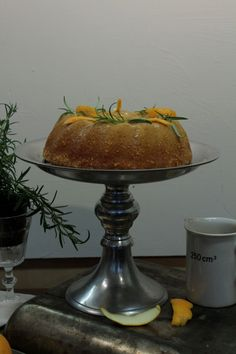 satsuma bundt cake with a blood orange-rosemary glaze