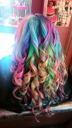 Rainbow hair using Manic Panic, shared on the Manic Panic FB page.