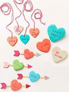 DIY Clay hearts...Kid-Friendly Valentine's Day Crafts:  (via Parents.com)