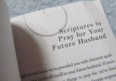 Have you ever thought about praying for your future husband?  Will it make a difference?  There's only one way to find out…