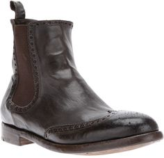 Alberto Fasciani Brogue Detail Chelsea Boot in Brown for Men $899