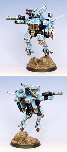 TAU SHAS'O - Summer 2006 - Painted in blue, brown, and white, this Tau commander was painted in the SENMM style, or 'chrome.'