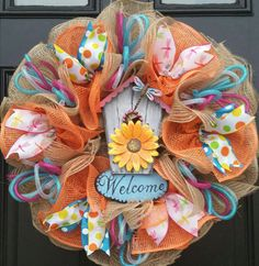 SPRING SUMMER WELCOME WREATH JUTE MESH BURLAP RIBBON #DecoMesh