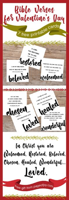FREE printable Valentine's Day cards from page of Joy! Perfect cards for kids, friends, him... These cards remind you of who you are in Christ! Single, widowed, divorced or married- be encouraged this valentines day. God loves YOU! Grab these free cards and be encouraged. Share them with teachers and classrooms too! Great for teens and pre-teens too. Happy valentines day! <3