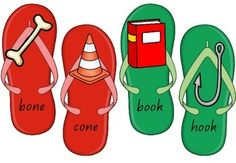 Quick and easy activity for working on rhyme identification. Cut and laminate the flip flops and you have a game ready to go. Game includes 12 pairs of rhyming words. Bone Books, Rhyming Words, Flipping, Literacy, Activities For Kids, Flip Flops, Summer, Ideas, Summer Time