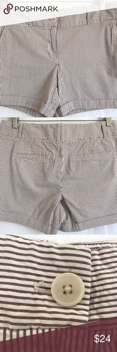 Ann Taylor Brown White Stripe Seersucker Shorts 6 This is an Ann Taylor LOFT brown and white stripe seersucker shorts.  It has two slit pockets and the hem is cuffed.  Size Women's 6  Content 98% Cotton, 2% spandex  Measurements   Waist 33  Hips 38  Rise 9  inseam 5  Condition Pre-owned; shorts are in very good condition. Ann Taylor Shorts