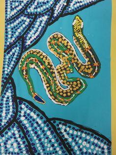 "4th grade Aboriginal dot painting, 12"" X 18""; lesson by art teacher: Susan Joe"