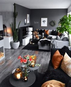 45 neutral living room ideas earthy gray living rooms to copy 39 Living Room Color Schemes, Living Room Colors, Living Room Designs, Colour Schemes, Dark Living Rooms, Home Living Room, Small Living, Living Room With Gray Walls, Black Living Room Furniture