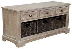 Oslember Storage Bench | Ashley Furniture HomeStore Storage Bench With Baskets, Bench With Drawers, Wood Storage, Storage Shelves, Storage Benches, Storage Trunk, Metal Drawers, Storage Hacks, Diy Storage