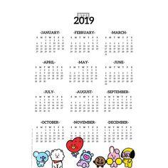 Pegatinas «BT21 2019 Calendario» de MitarashiDango | Redbubble Bts Calendar, Calendar 2019 Printable, Print Wallpaper, Bts Wallpaper, Iphone Wallpaper, Bts School, Kpop Diy, Album Bts, Bts 2018