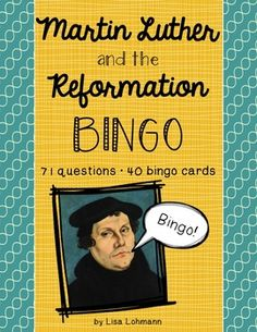 A fun way to learn about or review the events of Martin Luther's life!  71 questions/answers, 40 different bingo cards.