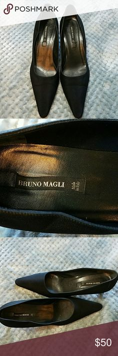 VINTAGE BRUNO MAGLI Black Pointy Toe Heels VINTAGE BRUNO MAGLI Black Pointy Toe Heels. Wear seen in photos. Beautiful pair of Italian made shoes!  Size 7 Bruno Magli Shoes