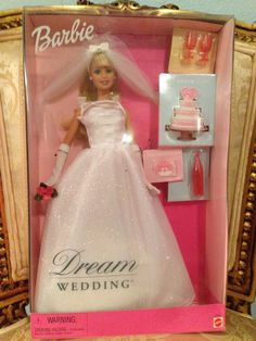 Barbie 2000 Dream Wedding Doll New in Box Cake Invitation Champagne Barbie Bridal, Barbie Wedding Dress, Wedding Doll, Dream Wedding, Wedding White, Gown Wedding, Wedding Cake, Barbie 2000, Mattel Barbie