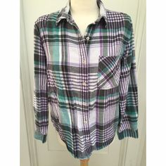 "Boyfriend flannel shirt, M Cute boxy ""boyfriend"" style flannel. Purple, green, gray and white. Purchased last summer at a boutique in Bend, Oregon. Never worn. The shirt was made from re-cycled flannel (so it's soft!).  No tags but it would fit a S/M (4/6/8). Tops Button Down Shirts"