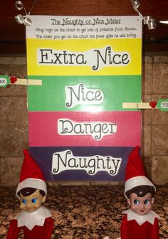 Naughty or Nice Meter. Elves will move the clips when they return from the North Pole to reflect their status on Santa's list. #elfontheshelf Christmas Elf, Christmas Stuff, Elf On The Shelf, Christmas Traditions, Shelves, Shelf Ideas, Home Decor, Xmas Ideas, Holiday Decorating