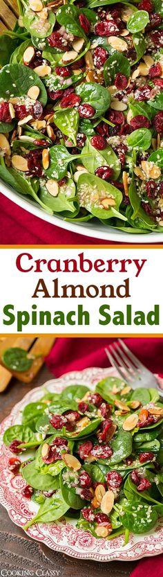 Cranberry Almond Spinach Salad with Sesame Seeds Dressing - delicious, simple salad! Perfect for Christmas!\n\n Ingredients\n  Salad\n 16 oz baby spinach\n 1 cup almonds, toasted\n 1 cup dried cranberries\n\n Sesame Seed Dressing\n 1/2 cup olive oil\n 3 Tbsp white sugar\n 3 Tbsp honey\n 1 Tbsp finely minced shallot\n 1/4 cup white wine vinegar\n 2 Tbsp apple cider vinegar\n 2 Tbsp sesame seeds, toasted\n 1 Tbsp poppy seeds (optional)
