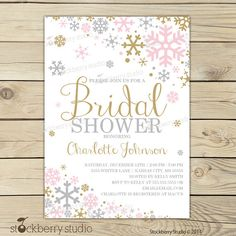 Winter Bridal Shower Invitation Pink Gold by stockberrystudio