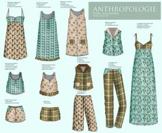 Pajama fashion flat sketches  #fashiondesign