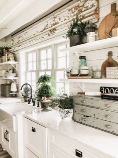 Love the architectural salvage type piece above window and shiplap. What a gorgeous kitchen. Where Did The Corbel Shelves Go? Farmhouse Kitchen Decor, Home Decor Kitchen, Country Kitchen, Home Kitchens, Kitchen Design, Rustic Farmhouse, Farmhouse Style, Kitchen Ideas, Kitchen Mats