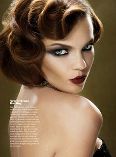 Old school pin curl finger waves dark make up. Beautiful LOVE