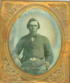 "A sixth plate ambrotype identified as Lindsey Williams of the 22nd North Carolina Infantry, Co. M. known as the ""Randolph Hornets"". Lindsey sits here dressed in a dark brown uniform while displaying a Smith and Wesson Model 1 revolver that probably did him little good in battle. Lindsey would enlist in mid March 13th of 1863 serving in the Army of Northern Virginia. His first action would come at Chancellorsville where the regiment would take a beating losing 219 men and 26 out of 33…"