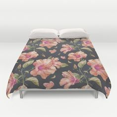 Hibiscus Duvet Cover Cover yourself in creativity with our ultra soft microfiber duvet covers. #Hibiscus, #floral pattern, #floral, #pattern, #illustration