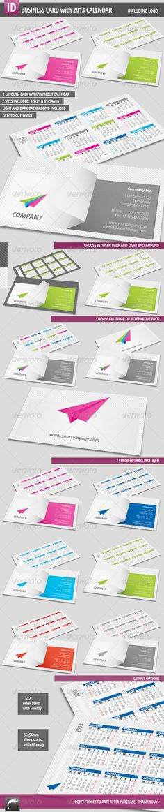 Modern Business Card with Calendar 2013  #GraphicRiver         This is a modern business card template that is easy to edit and to customize according to
