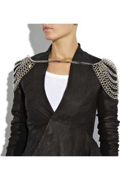 """""""Multi-chain Metal Epaulets from Falconiere are metal shoulder pads .Reminiscent of a knight's armour, the Multi-chain Metal Epaulets would do wonders with a spike shouldered jacket or even on bare skin, with a strapless top. Goth Glam, Body Necklace, Shoulder Jewelry, Armadura Medieval, Fashion Quotes, Shoulder Pads, Body Jewelry, Jewellery, Women Accessories"""