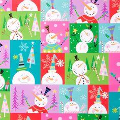 Colorblock Snowman Roll Wrap Price $8.95