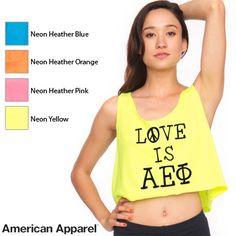 American Apparel Sorority Neon Printed Crop Tank Top $18.95 #Sorority #Clothing #Greek