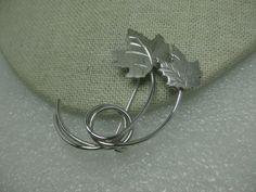 Vintage Sterling Silver Double Maple Leaf Brooch, signed Beau, 7.13 gr. #Beau