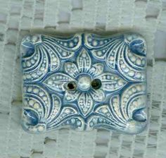 Large Square Textured Blue Cushion Button by uniquebuttons on Etsy, $6.00