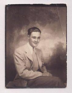 Debonair Confident Young Man in PHOTO BOOTH Vintage Photo