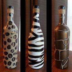 READY TO SHIP Individual Animal Print Painted Wine Bottles - Leopard print wine bottle, Zebra print wine bottle and Giraffe print wine bottle with Bronze Accents(Wine Bottle Painting) Wine Bottle Glasses, Wine Bottle Corks, Glass Bottle Crafts, Diy Bottle, Glass Bottles, Liquor Bottles, Painted Wine Bottles, Painted Wine Glasses, Decorated Bottles