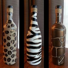 READY TO SHIP Individual Animal Print Painted Wine Bottles - Leopard print wine bottle, Zebra print wine bottle and Giraffe print wine bottle with Bronze Accents