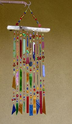 Windchime Suncatcher - Stained Glass Wind Chime - Glass Wind Chimes - Glass Suncatcher - 7639. $92.00, via Etsy.
