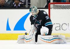 San Jose Sharks goaltender Antti Niemi makes one his 35 saves against the Nashville Predators (March 12, 2015).