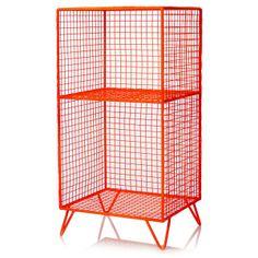 Neon Orange Grid Storage Shelf