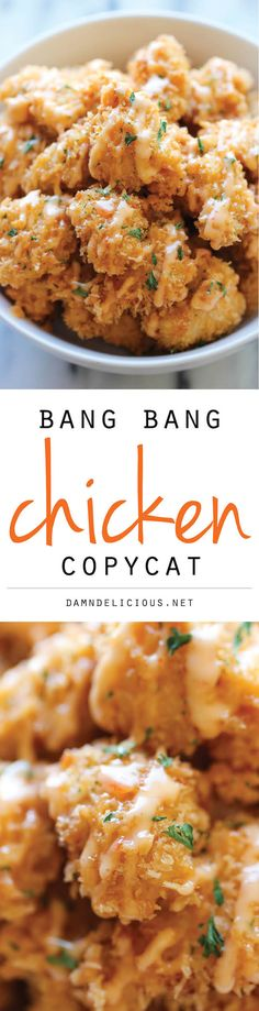 "Bang Bang Chicken - Amazingly crisp chicken bites drizzled with sweet chili mayo - so good, you'll want to double or triple the recipe! Also says it is Minute Bang Bang Chicken"" Asian Recipes, New Recipes, Cooking Recipes, Favorite Recipes, Recipies, Cake Recipes, Food Dishes, Main Dishes, Bang Bang Chicken"