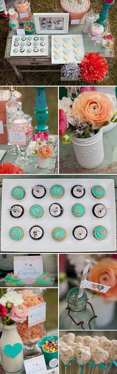 Cute party ideas, little one photo booth, coral and teal