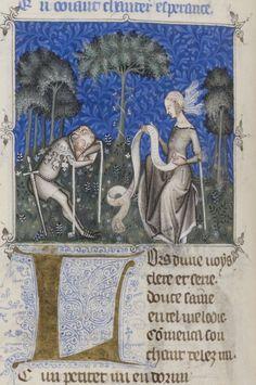 Bibliothèque nationale de France, Français 1586, f. 38v (the author and Bon Espoir). Guillaume de Machaut, Le remède de fortune (The Cure of Ill Fortune). Paris, c.1350-1355.