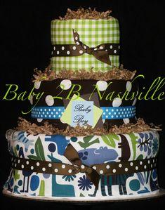 Diaper Cake for Boys Blue Zoo Boy Diaper Cake... Baby Shower Centerpiece