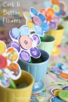 Would be such a cute Mother's Day  gift with small vase full of colored flowers,  easy for little hands! Stamped Flower Craft with Corks and Buttons | DIY & Crafts