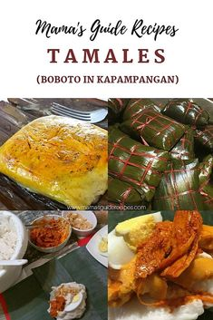 Tamales or Boboto in kapampangan dialect is made of rice flour coconut milk topped with palabok sauce salted egg or boiled egg shredded chicken sprinkled with fried garlic and nuts. It is cooked thru steaming wrapped mixture in banana leaves. Filipino Dishes, Filipino Desserts, Filipino Recipes, Asian Recipes, Filipino Food, Pinoy Food, Pinoy Dessert, Ethnic Recipes, Raw Food Recipes