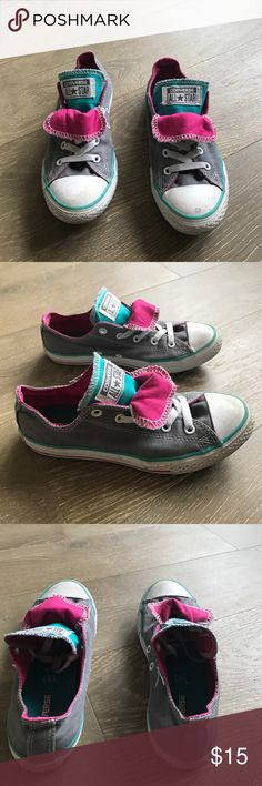 Converse All Star Chuck Taylor Low Kids sneakers Converse All Star Chuck Taylor Low Kids sneakers   Color: Gray, Pink, Turquoise. Double tongue   Size 3  Preowned, sold without box Converse Shoes Sneakers