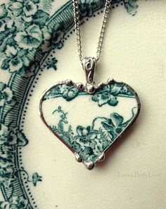 Broken china jewelry heart pendant necklace teal English transferware irises or violets