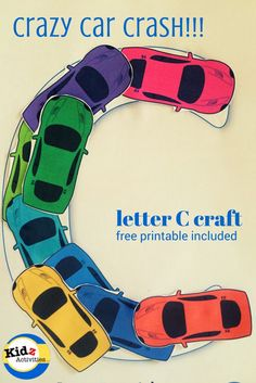 911 crafts for toddlers letter C craft: crazy car crash with free printable included Letter C Preschool, Letter C Crafts, Letter C Activities, Preschool Learning Activities, Fun Learning, Letter Art, Preschool Ideas, Number Activities, Alphabet Crafts