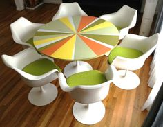 60's Knoll Saarinen Tulip Chairs with a matching style Tulip based Table. @Rachel Madden Business Interiors is proud to sell @Knoll Design  products. www.mbilv.com